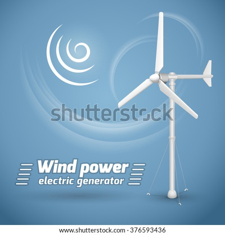 Wind power electric tower generator on blue background. Wind-powered electrical generator. - stock vector