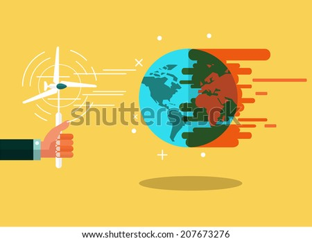 Wind Power make the Earth Is Cooling. green concept. flat design. vector illustration - stock vector