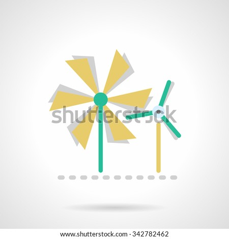 Wind power mills, rotating. Saving energy technology, alternative energy. Flat color style vector icon. Single web design element for mobile app or website. - stock vector