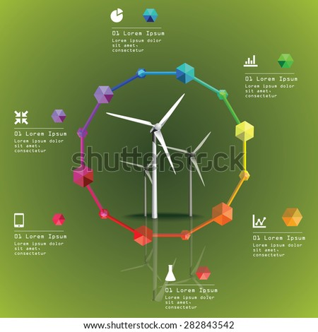Wind power plant vector image. Green industry infographic - stock vector