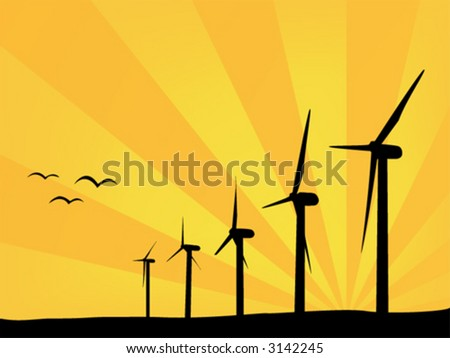 Wind power plants in summer day