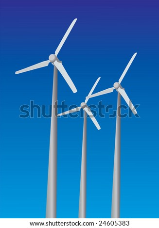 Wind power plants on sky background blue color
