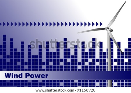 Wind power, renewable energy.  Brochure cover or Business card - stock vector