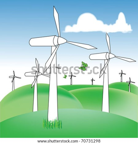 wind power with landscape - stock vector