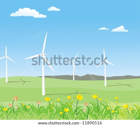 wind-powered generator on the sunny field - stock vector