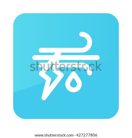 Wind Rain Lightning outline icon. Meteorology. Weather. Vector illustration eps 10