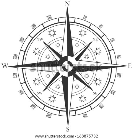 wind rose, compass - stock vector