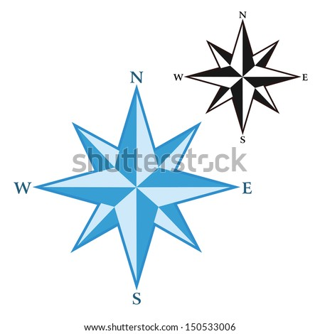 Wind rose - compass star - stock vector