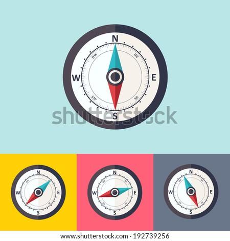 Wind rose compass vector flat trendy symbol - stock vector