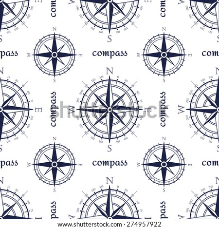 Wind rose compass vintage vector symbols seamless pattern. - stock vector