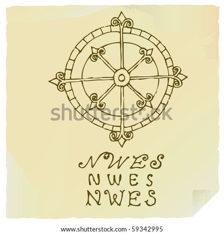 wind rose drawing - stock vector