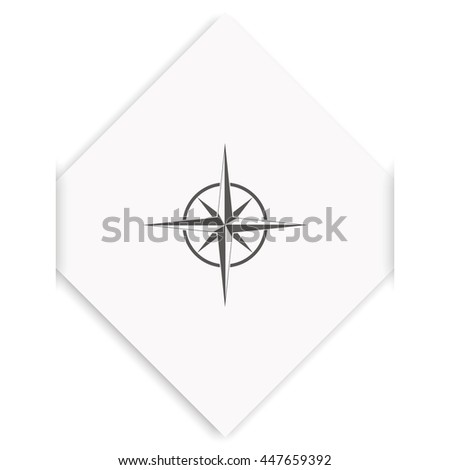 Wind rose icon. Cartography symbol.