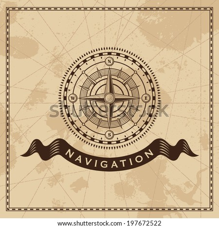 Wind Rose Nautical Compass - Vector design background - stock vector