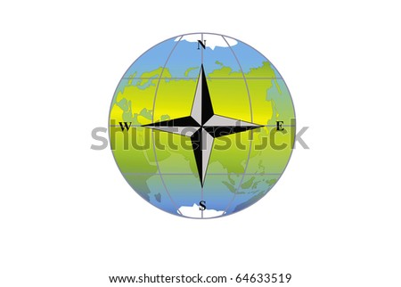Wind rose on a background map of the world Eurasia, Africa