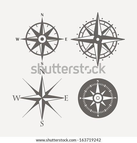 Wind rose retro design vector collection - stock vector