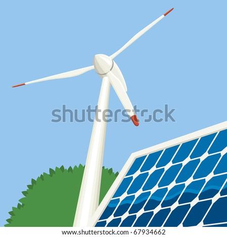 Wind turbine and solar panel. - stock vector