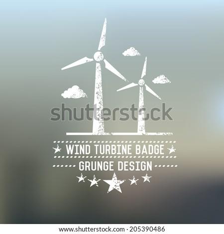 Wind turbine badge on blur background,vector - stock vector