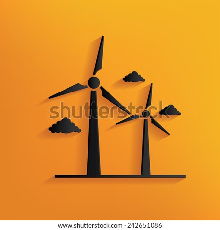 Wind turbine design on yellow background,clean vector - stock vector