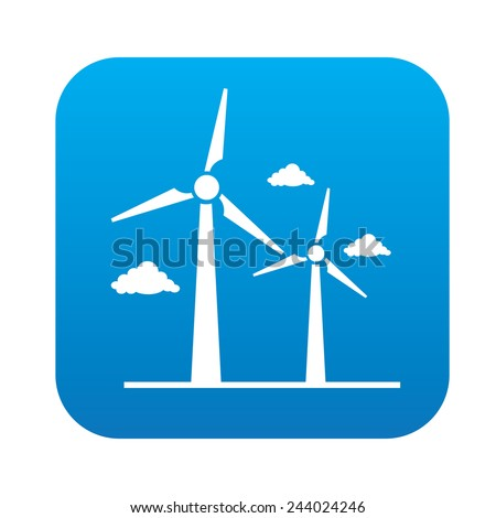 Wind turbine icon on blue button, clean vector - stock vector