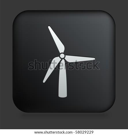 Wind Turbine Icon on Square Black Internet Button Original Illustration - stock vector