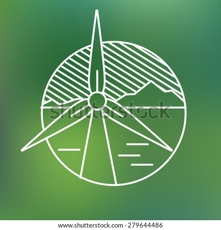 wind turbine linear icon, eco generating electricity save planet concept - stock vector