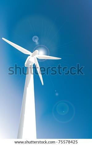 wind turbine on blue background - stock vector