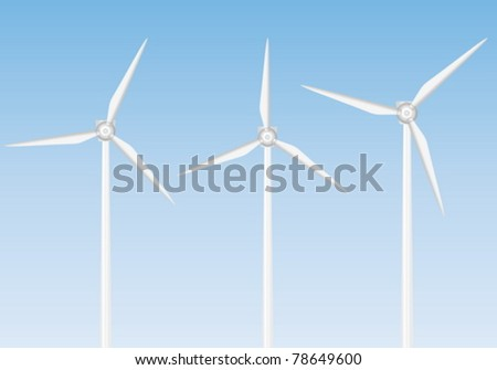 Wind turbine on blue background. Vector illustration.