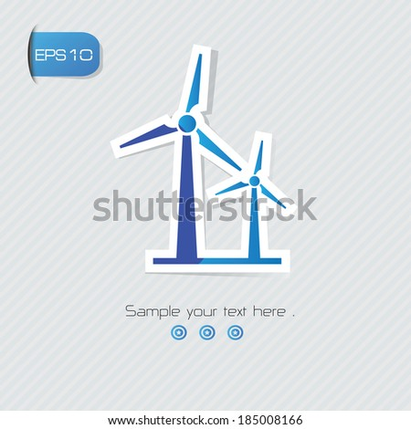 Wind turbine symbol,vector - stock vector