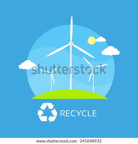 wind turbine tower over blue sky and green grass energy recycle technology flat design vector illustration - stock vector