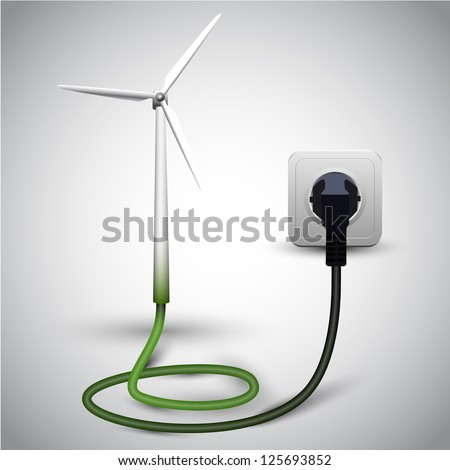Wind turbine with socket - stock vector