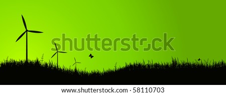wind turbines - stock vector
