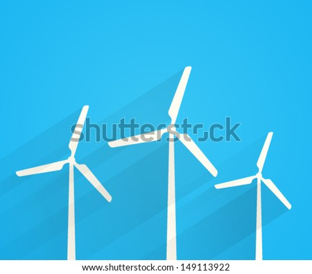 Wind turbines creative design. Vector illustration. - stock vector