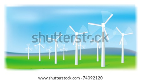 Wind turbines farm. Alternative energy source. - stock vector