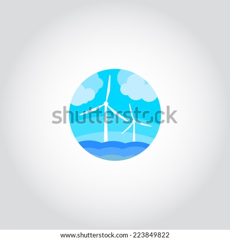 Wind turbines generating electricity in the sea, ecological power - stock vector