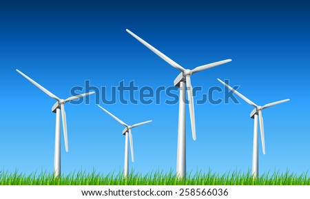 Wind turbines, grass and blue sky, vector background. - stock vector