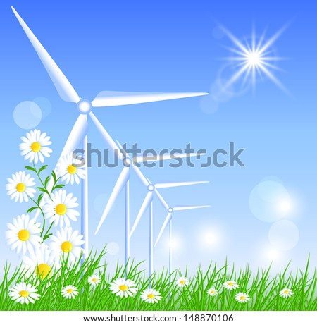 Wind turbines in the field and sun - stock vector