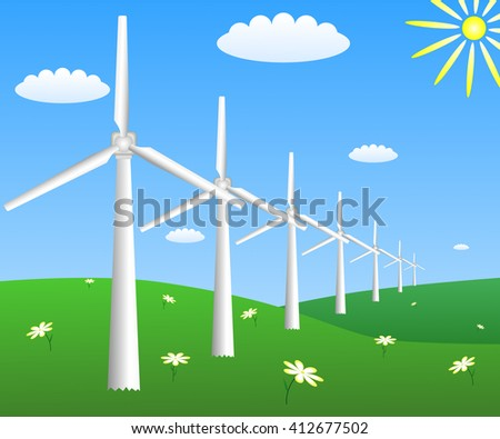 Wind turbines on a field with camomiles. Vector EPS10 - stock vector