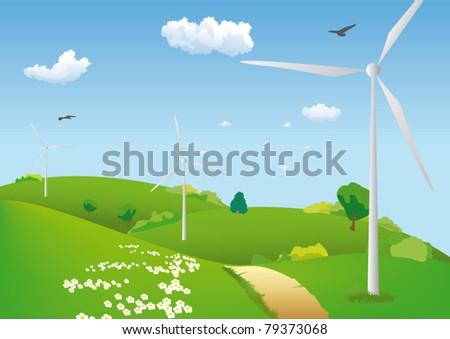 Wind turbines on  green meadow - stock vector