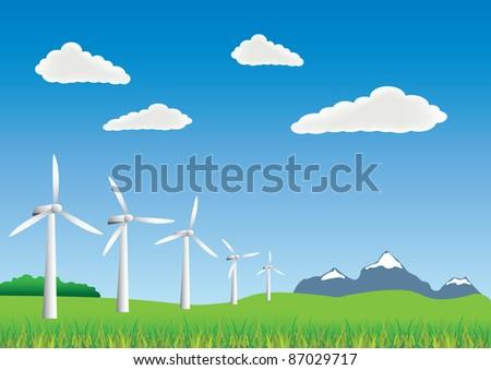wind turbines on the landscape - stock vector