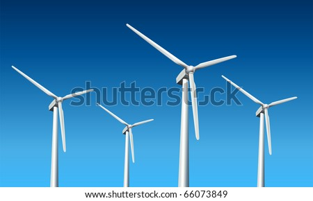 Wind turbines realistic vector illustration,