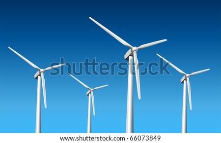 Wind turbines realistic vector illustration, - stock vector