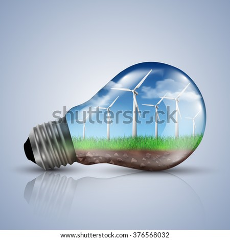 Wind turbines with a clear sky in a light bulb. Ecology concept vector illustrations.
