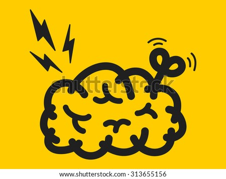 wind-up brain - stock vector