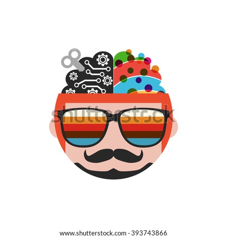 wind up brain, creative and analysis side, isolated on white background - stock vector