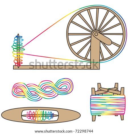 Winder Spinning Wheel Stock Vector 72298744 - Shutterstock