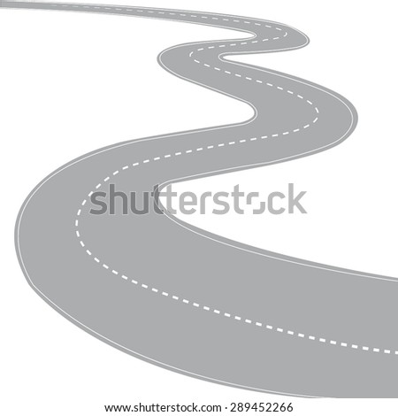Winding abstract road isolated on a white background - vector - stock vector