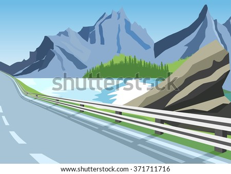 winding road in mountains along the sea or ocean - stock vector