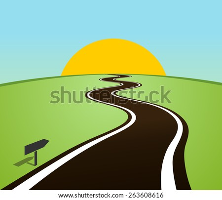 Winding road in the field over the horizon. Sun over the hill. Vector illustration - stock vector