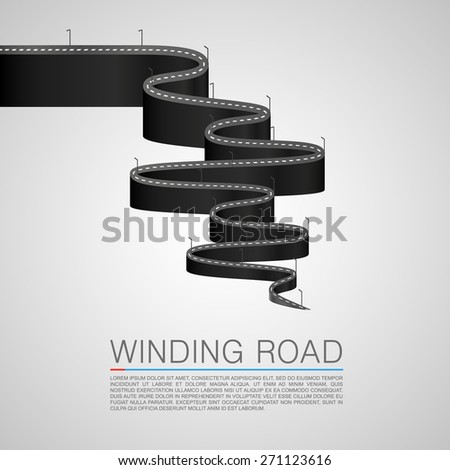 Winding road to the top. Vector Illustration - stock vector