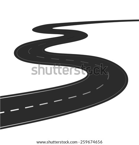 Winding road vector illustration isolated on a white background - stock vector